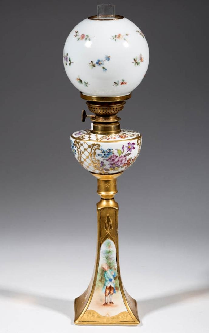 FRENCH DECORATED PORCELAIN PEG LAMP
