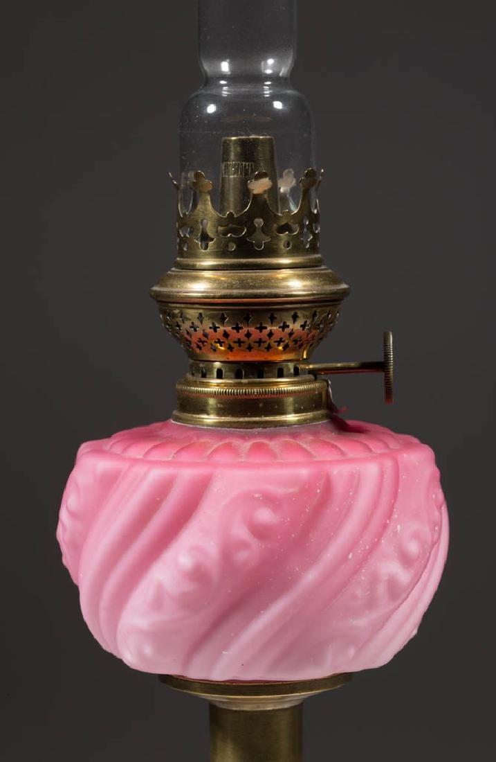 VICTORIAN MOLDED SATIN GLASS PEG LAMP