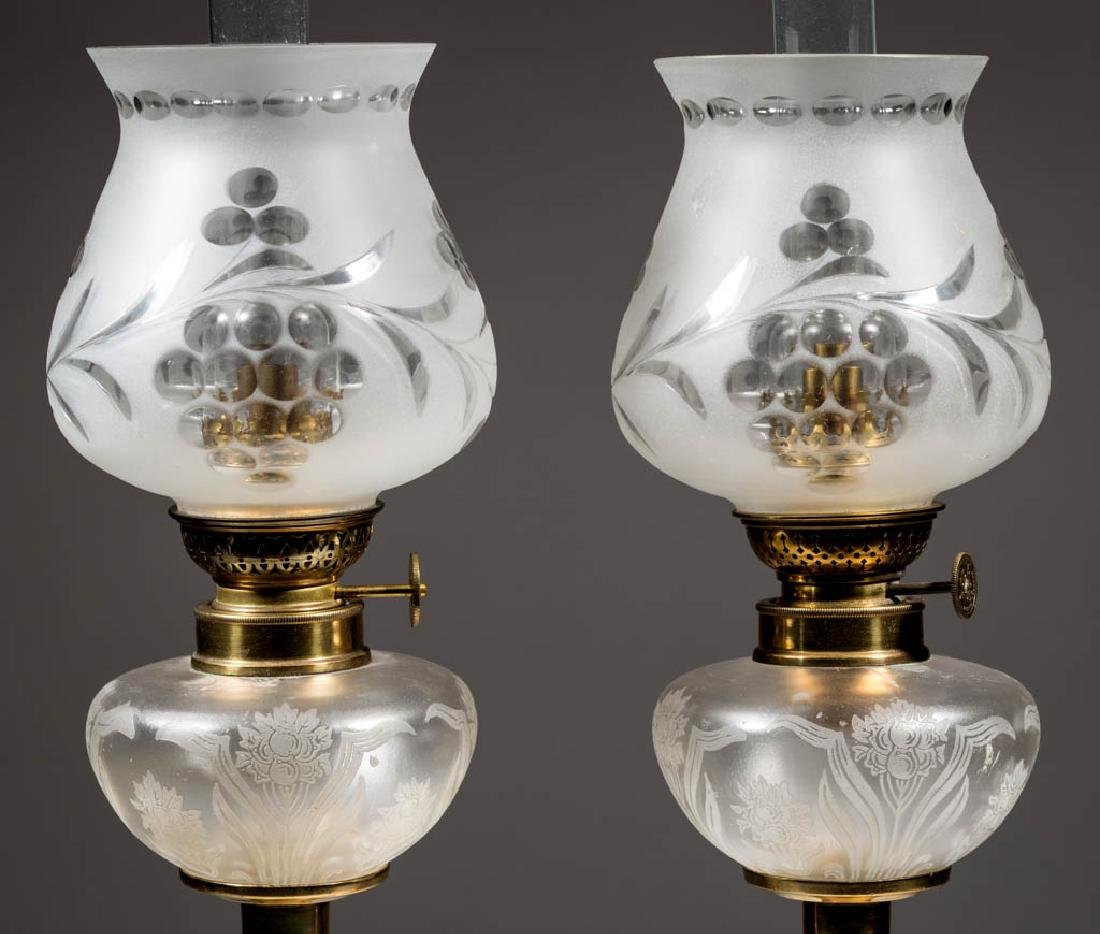 ACID ETCHED AND FROSTED PEG LAMPS, PAIR