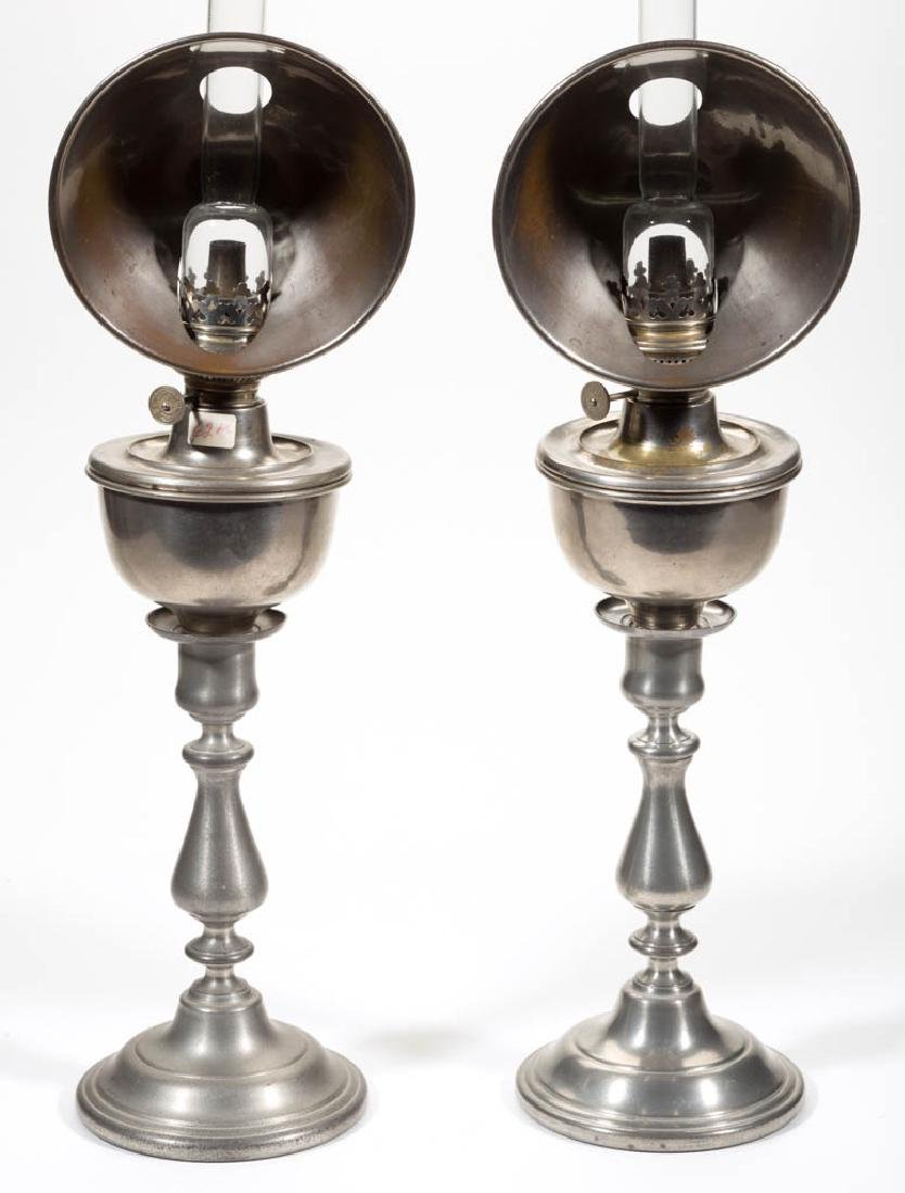 NICKEL-PLATE PEG LAMPS, PAIR