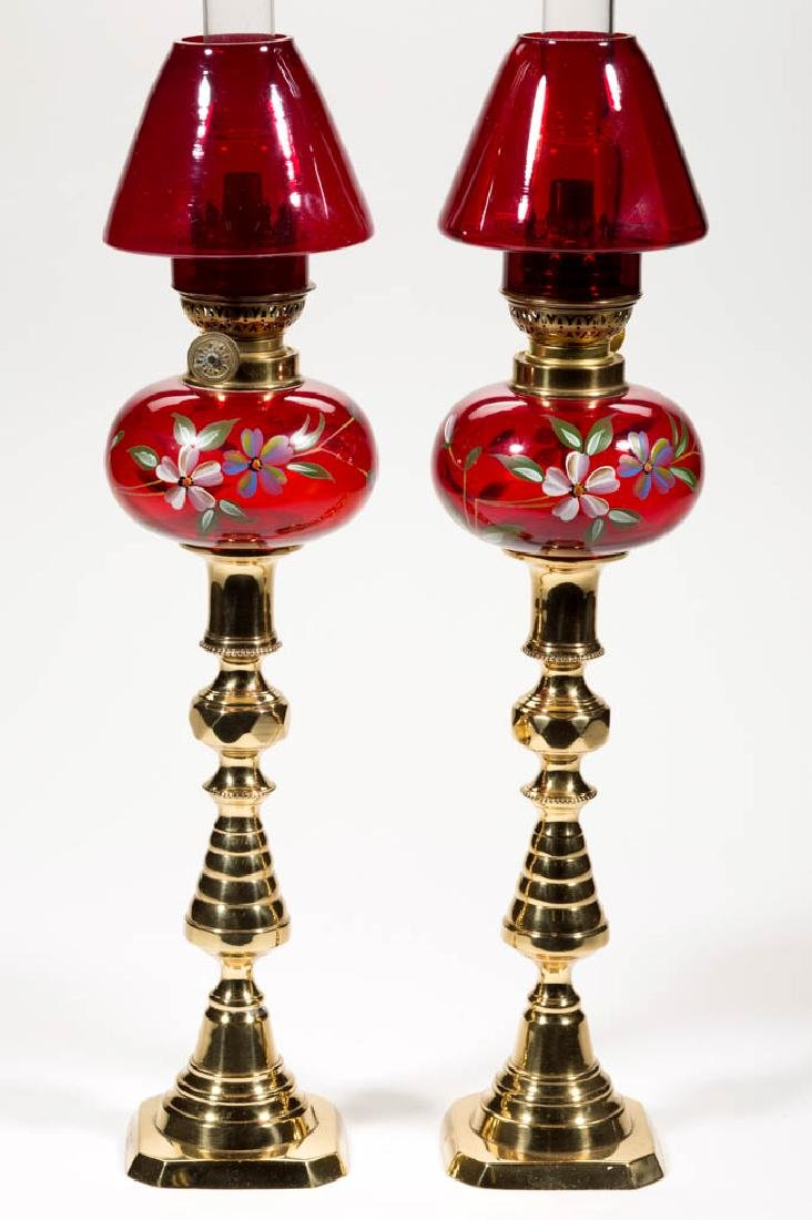 VICTORIAN DECORATED PEG LAMPS, PAIR - 2