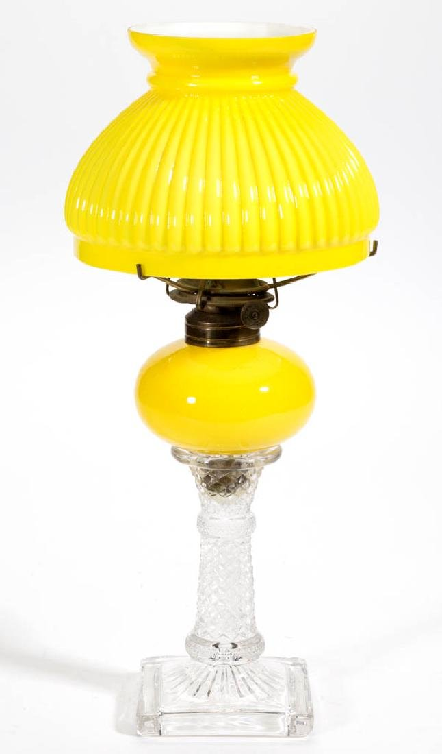 CASED YELLOW GLASS PEG LAMP