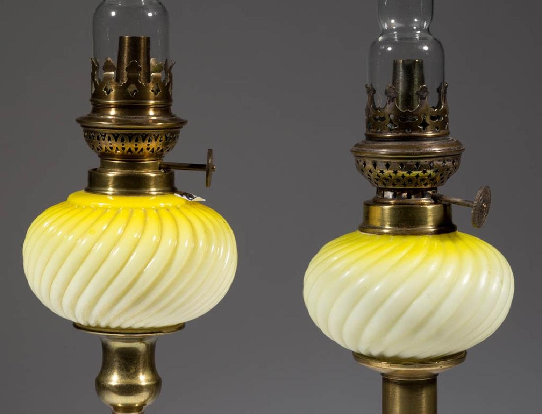 RIB SWIRL CASED GLASS PEG LAMPS, PAIR