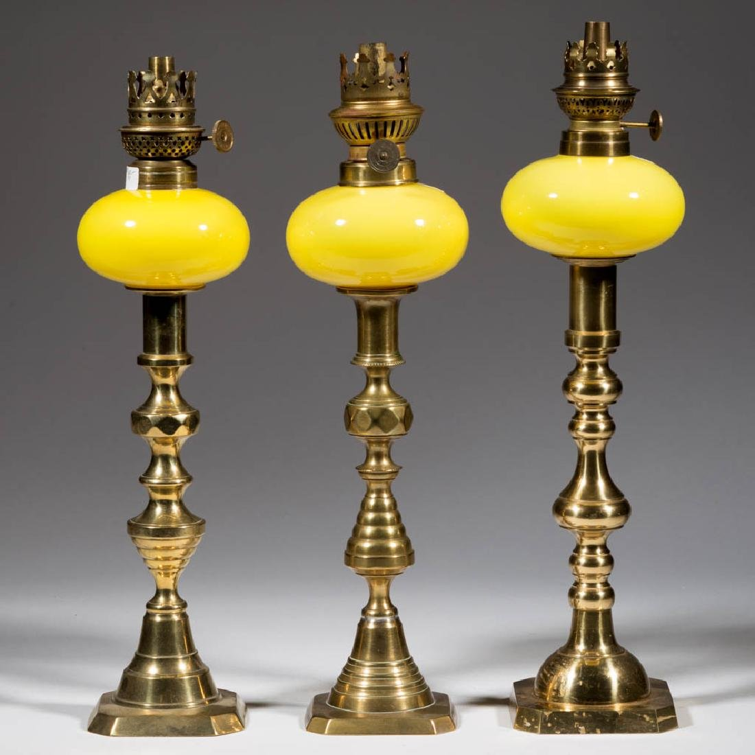 VICTORIAN CASED GLASS PEG LAMPS, LOT OF THREE