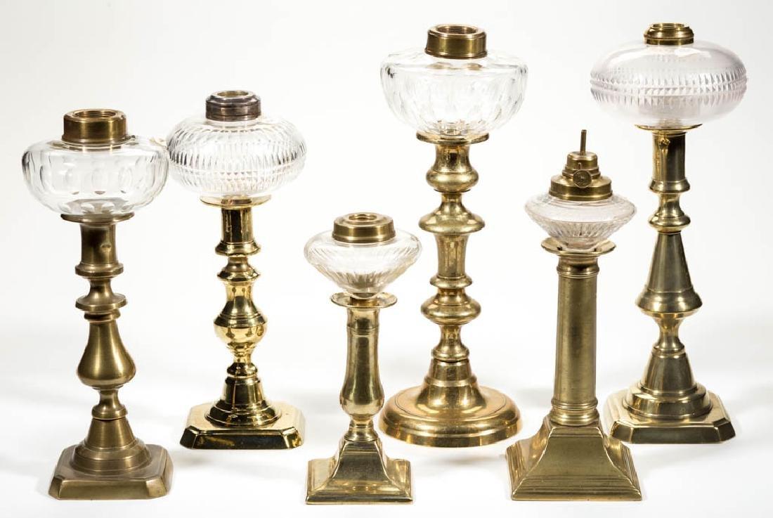ASSORTED CUT GLASS PEG LAMPS, LOT OF SIX