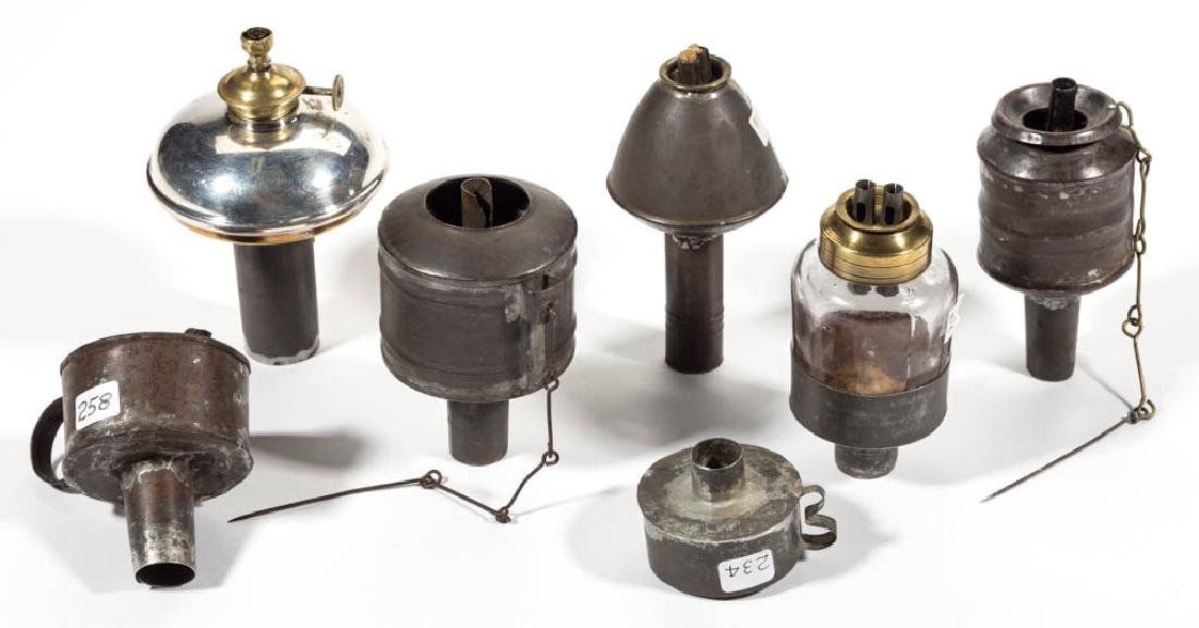 ASSORTED SHEET-IRON PEG LAMPS, LOT OF SEVEN