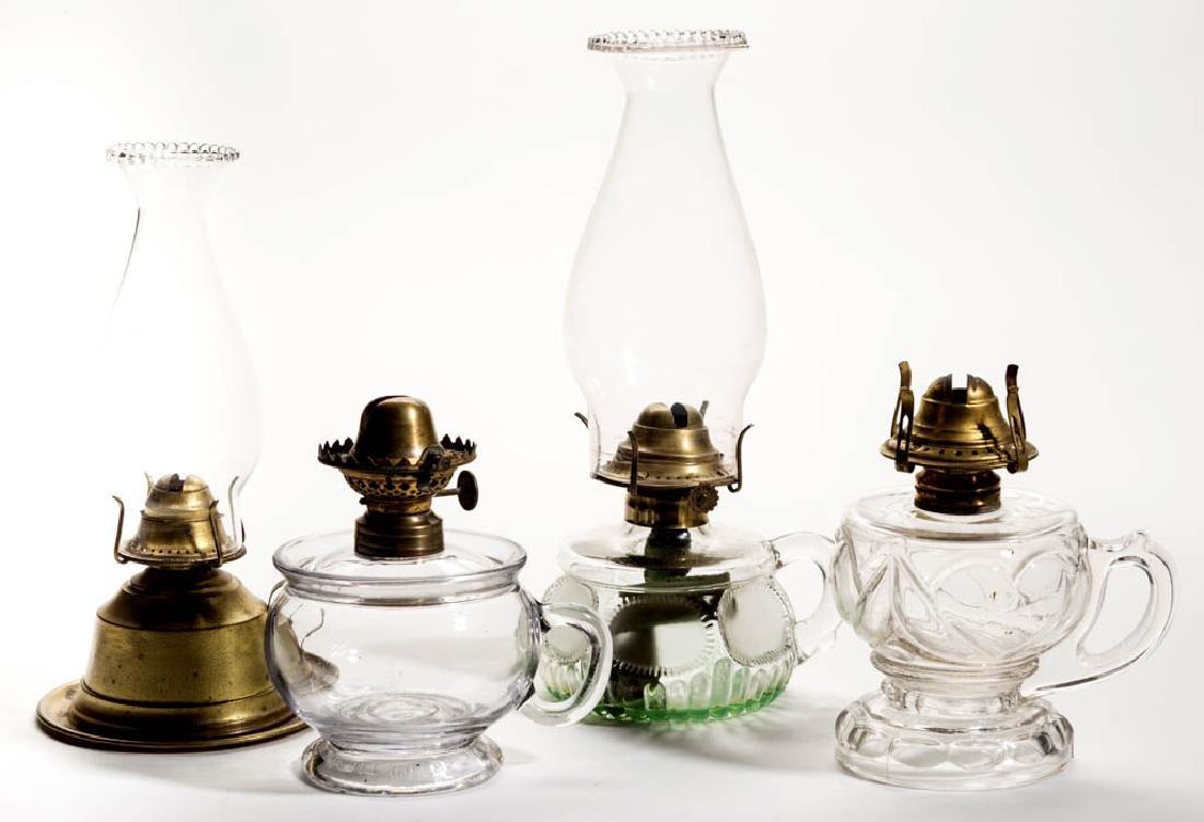 ASSORTED GLASS AND METAL FINGER KEROSENE LAMPS, LOT OF