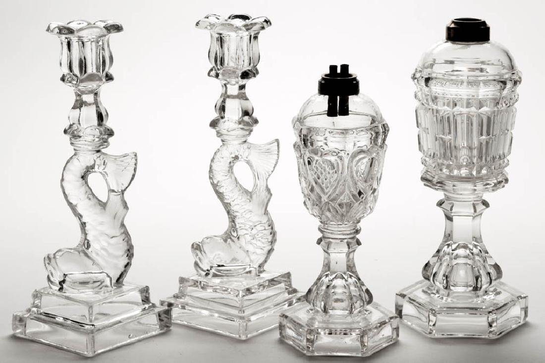 ASSORTED PRESSED GLASS LIGHTING ARTICLES, LOT OF FOUR