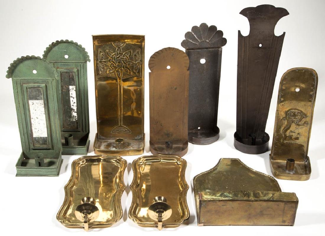 BRASS AND SHEET-IRON WALL SCONCES, LOT OF TEN