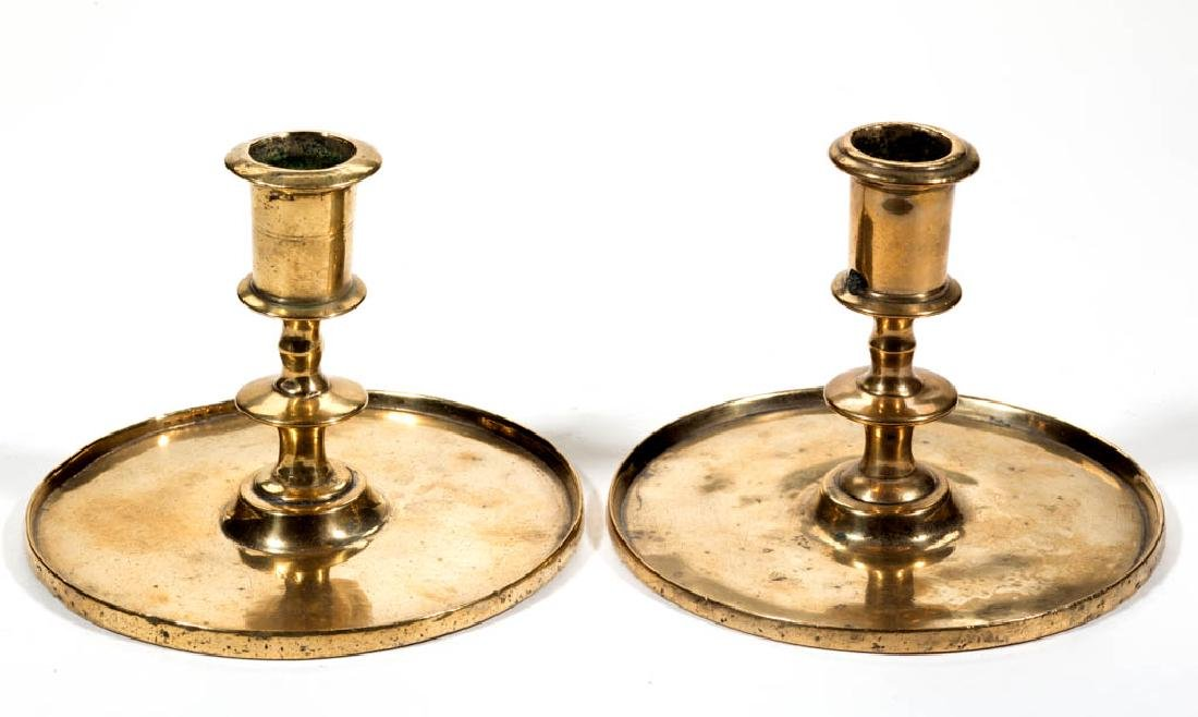 PAIR OF CONTINENTAL BRASS CANDLESTICKS, LOT OF TWO