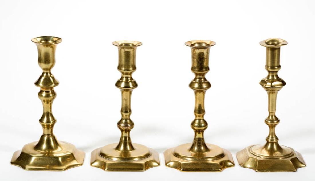 ASSORTED ENGLISH BRASS CANDLESTICKS, LOT OF FOUR