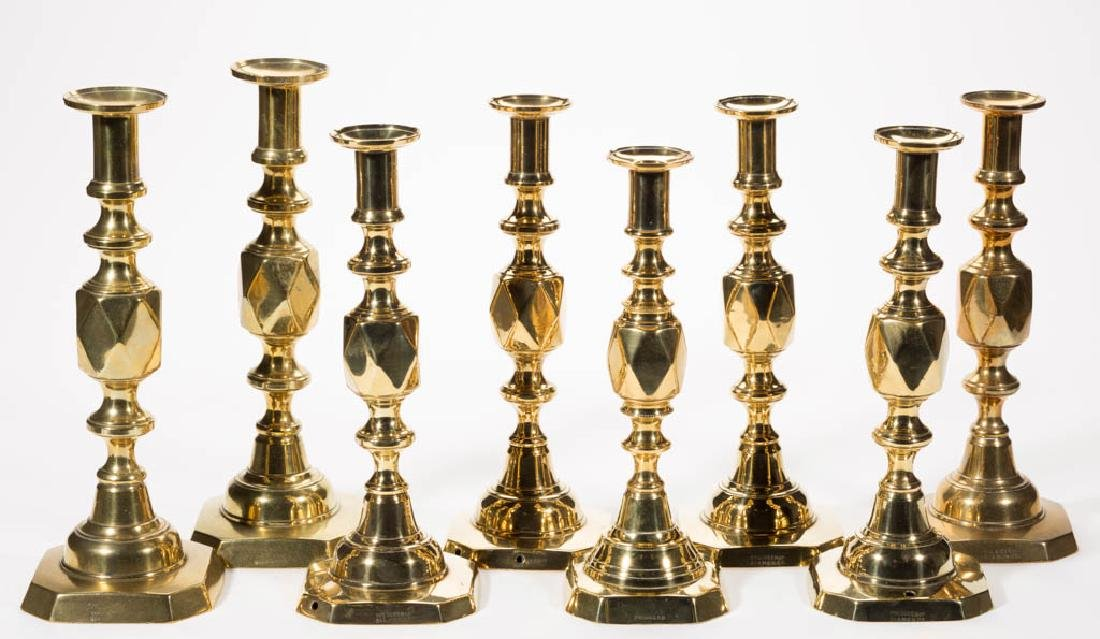 ASSORTED ENGLISH BRASS CANDLESTICKS, LOT OF EIGHT
