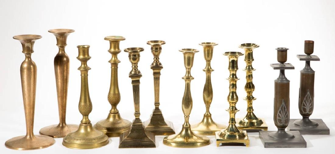 ASSORTED ENGLISH BRASS CANDLESTICKS, LOT OF 12