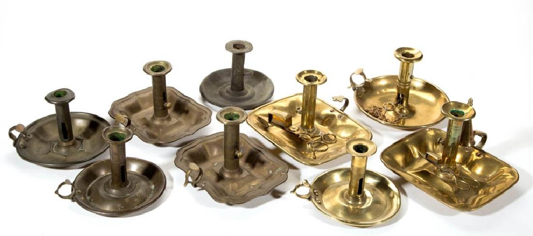 ASSORTED ENGLISH BRASS CANDLESTICKS, LOT OF NINE