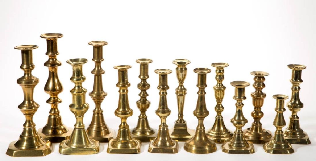 ASSORTED ENGLISH BRASS CANDLESTICKS, LOT OF 14