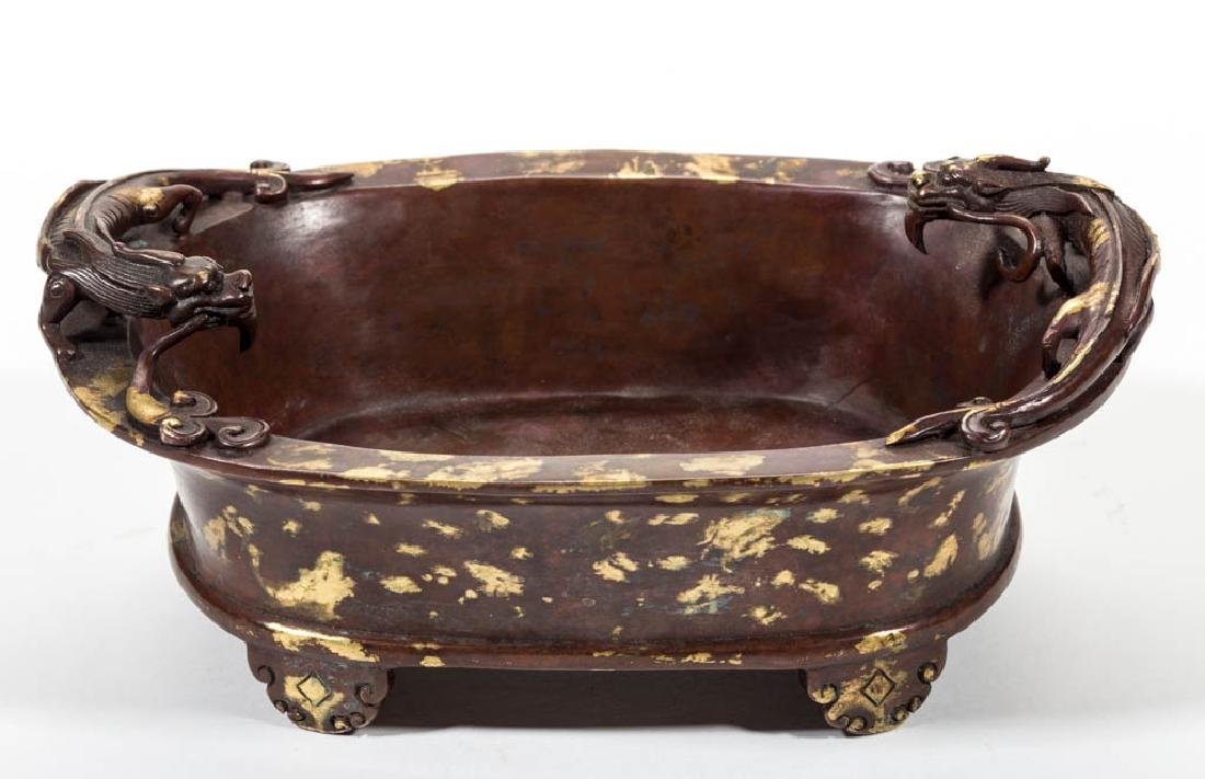 CHINESE BRONZE SPLASHED-GOLD CENSER