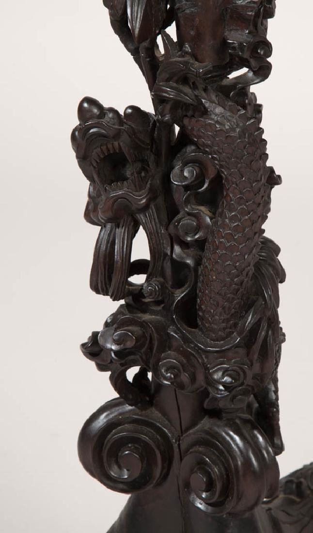 CHINESE CARVED WOOD AND MARBLE TABLE - 7