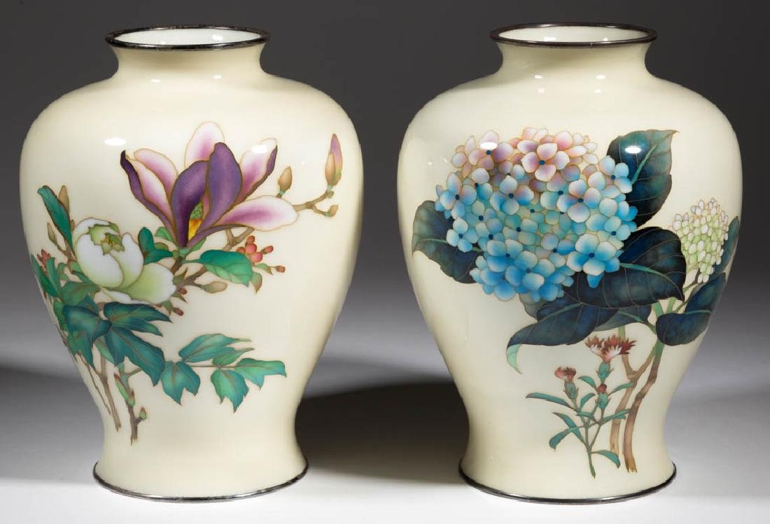 ANDO JUBEI JAPANESE SILVER AND CLOISONNE VASES, PAIR