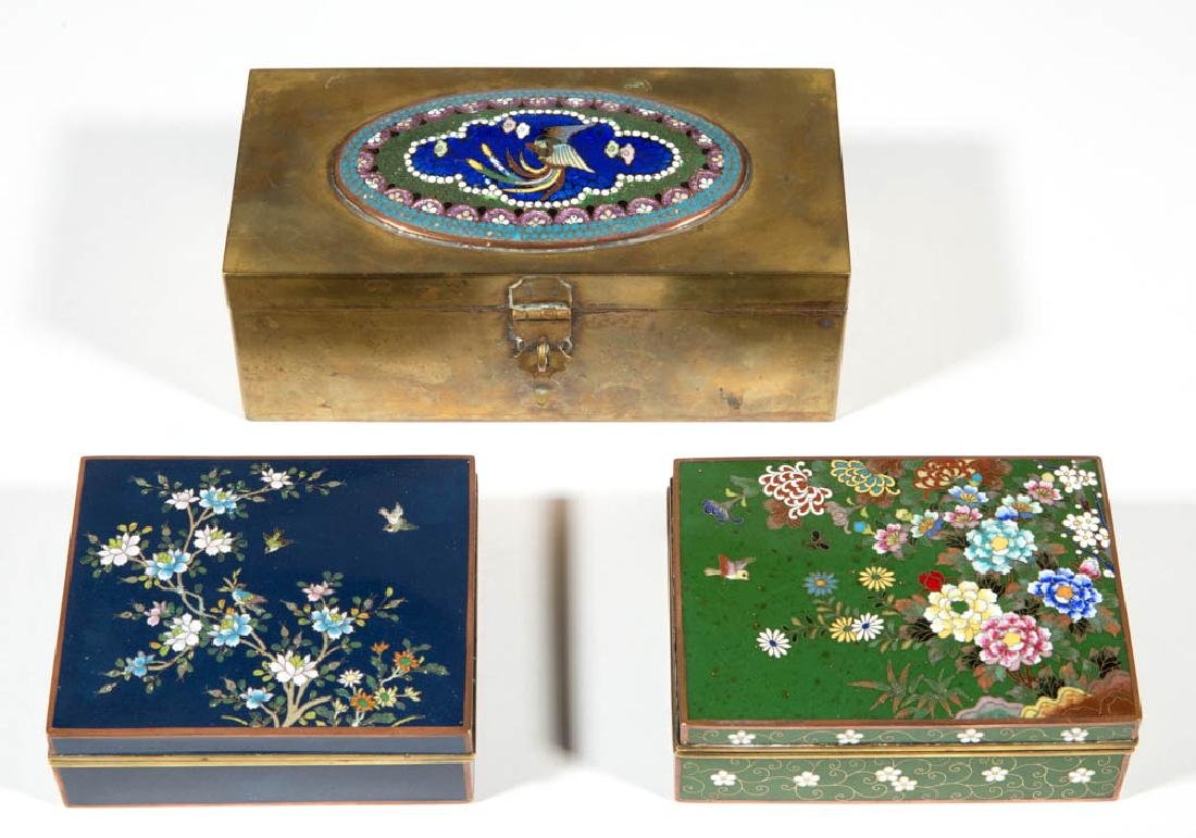 JAPANESE CLOISONNE BOXES, LOT OF THREE