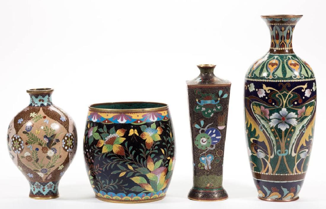 JAPANESE CLOISONNE VASES, LOT OF FOUR