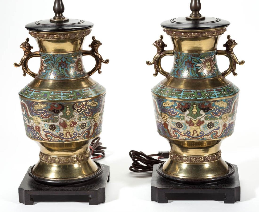 CHINESE CLOISONNE TABLE LAMPS, PAIR