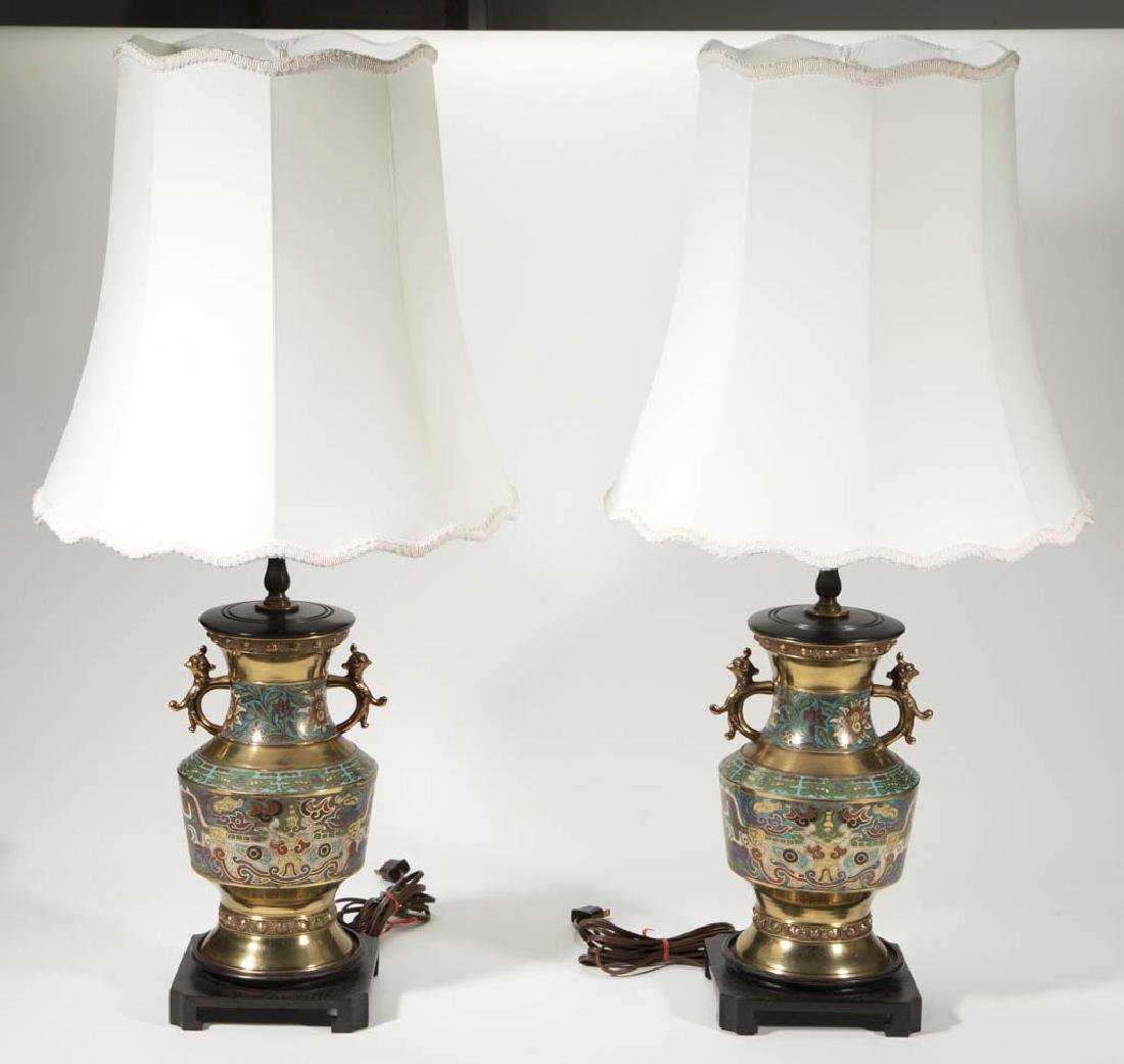 CHINESE CLOISONNE TABLE LAMPS, PAIR - 2