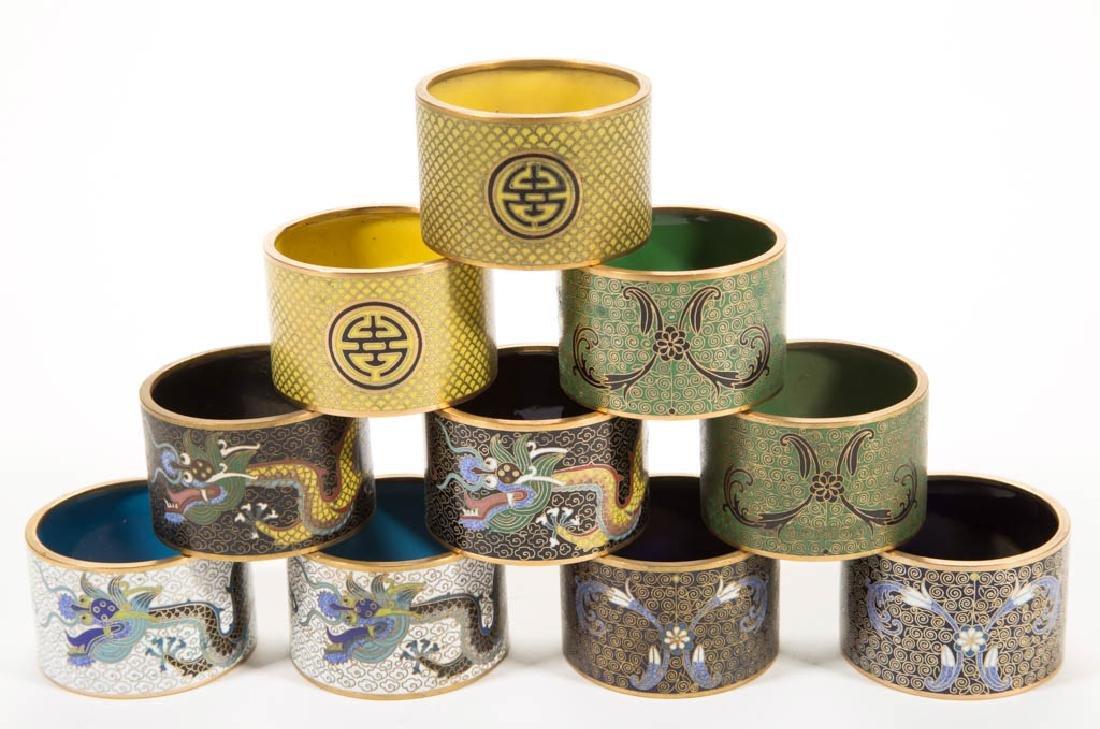 JAPANESE CLOISONNE NAPKIN RINGS, SET OF TEN