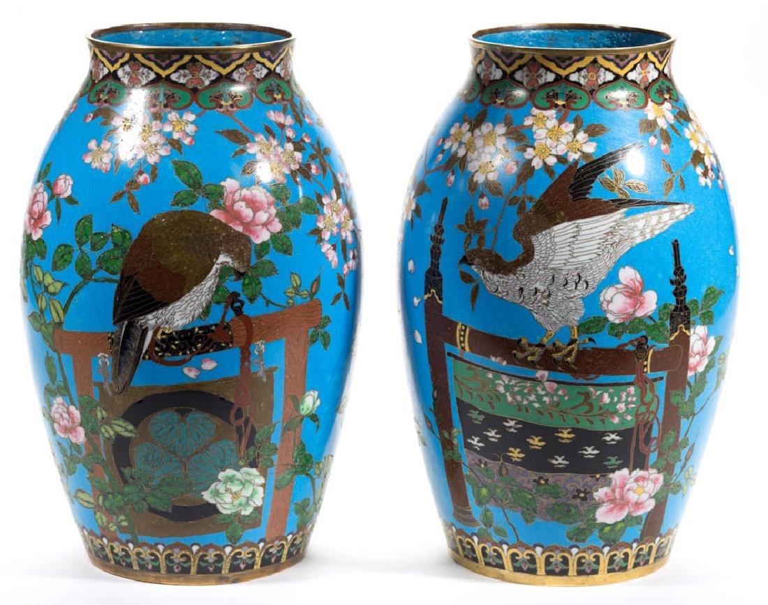 JAPANESE CLOISONNE VASES, PAIR