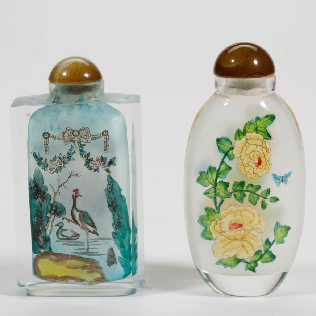 CHINESE GLASS SNUFF BOTTLES, LOT OF TWO