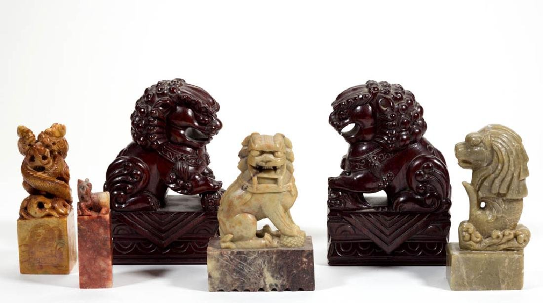CHINESE CARVED STONE FIGURES / SEALS, LOT OF FOUR