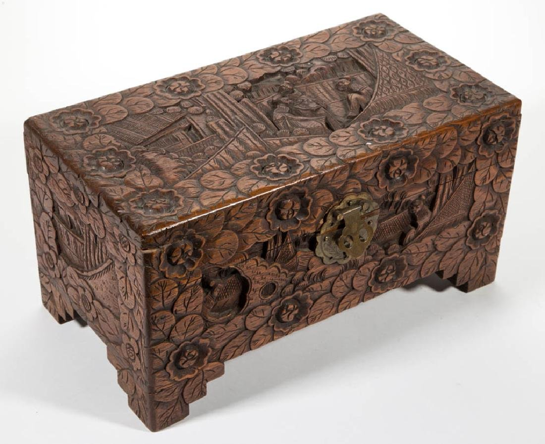 CHINESE CARVED CAMPHOR WOOD DIMINUTIVE BOX