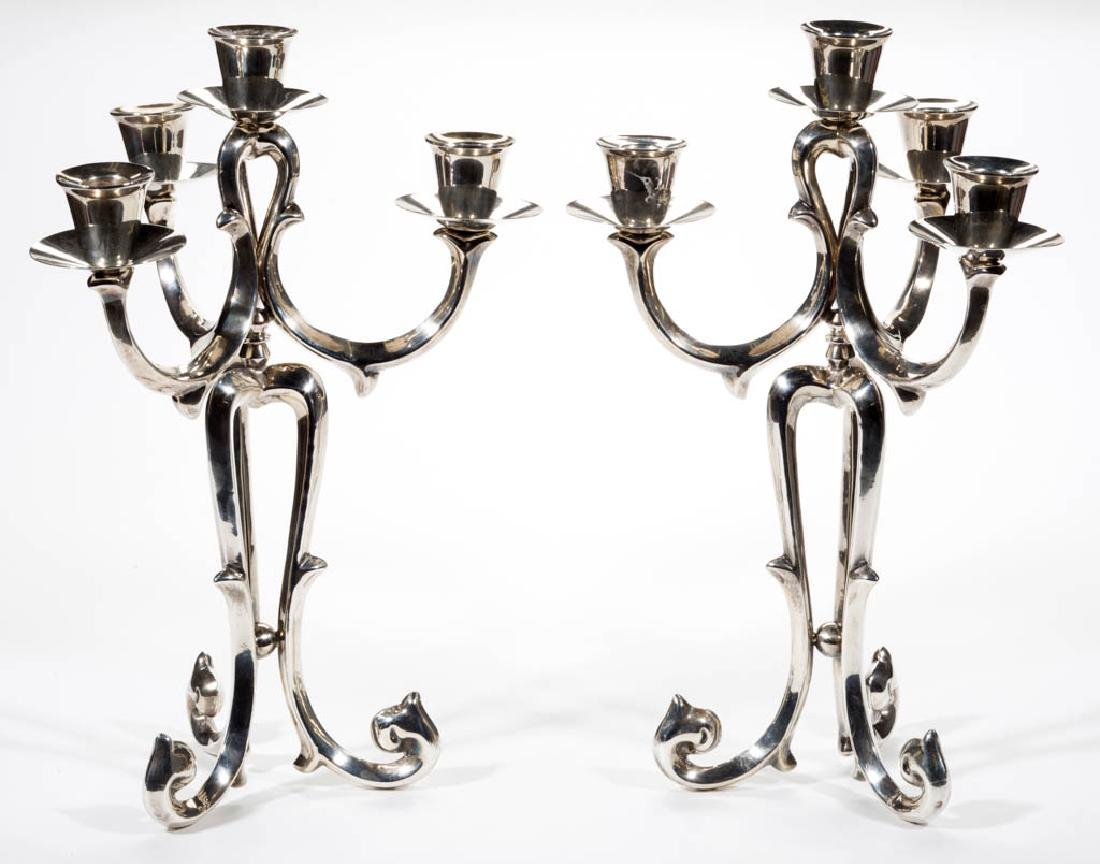 MEXICAN STERLING SILVER CANDELABRUM, PAIR