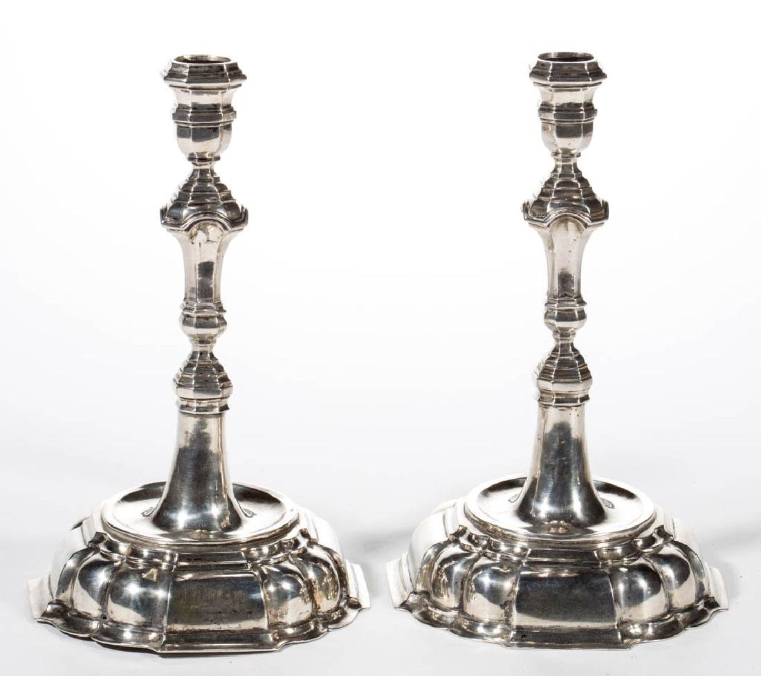 CONTINENTAL COIN SILVER CANDLESTICKS, PAIR