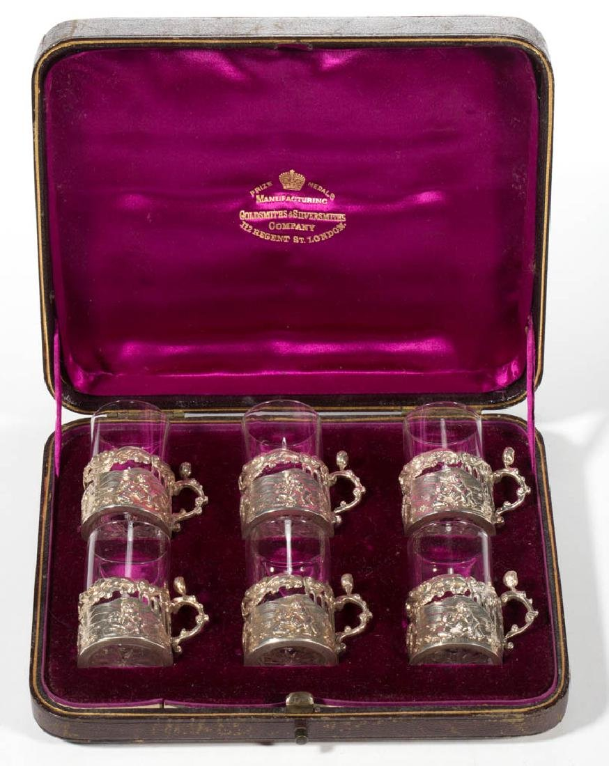 ENGLISH STERLING SILVER CORDIALS / CUP HOLDERS WITH