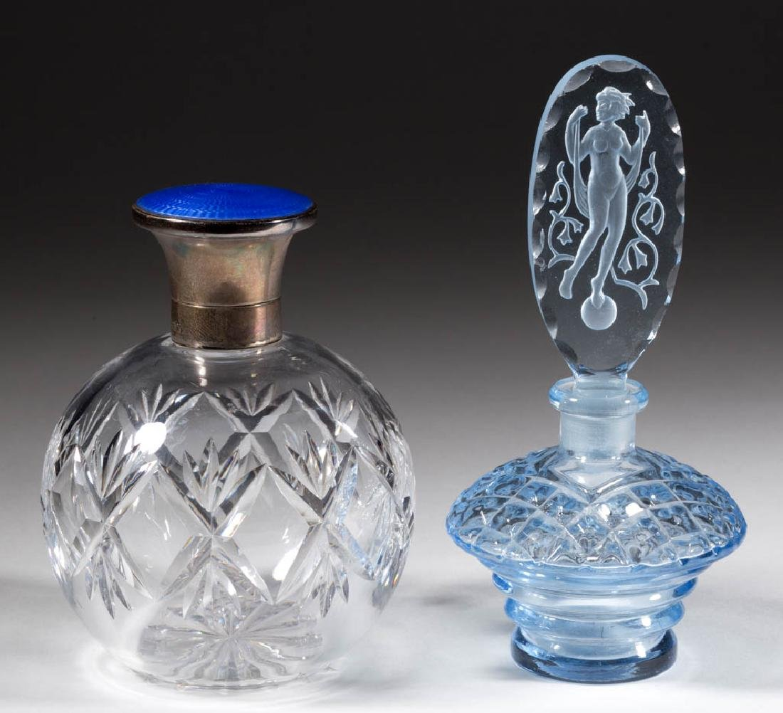 ASSORTED GLASS PERFUME BOTTLES, LOT OF TWO