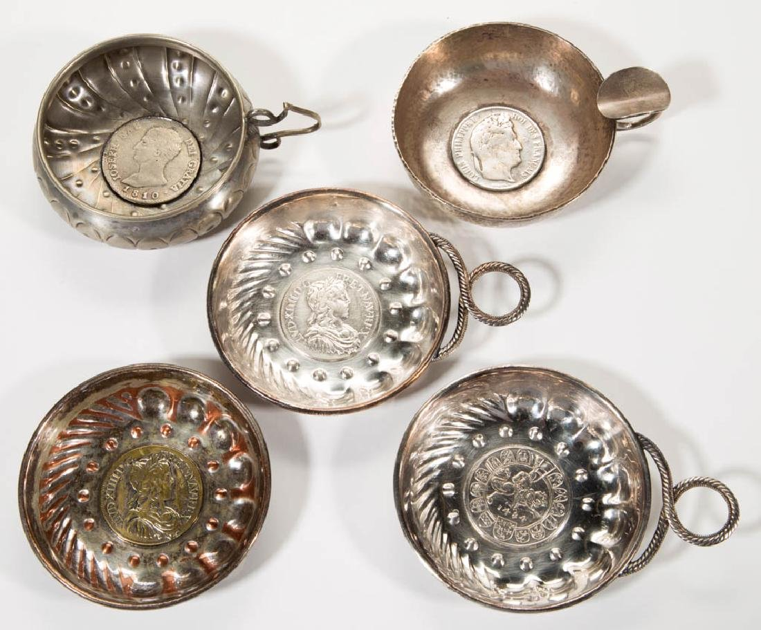 ASSORTED SILVER-LIKE COIN-BOTTOM WINE TASTERS, LOT OF