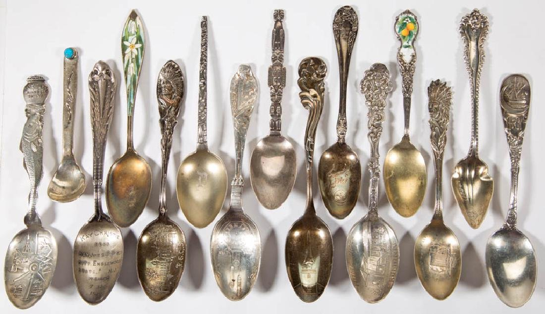 ASSORTED STERLING SILVER SOUVENIR SPOONS, LOT OF 30 - 2