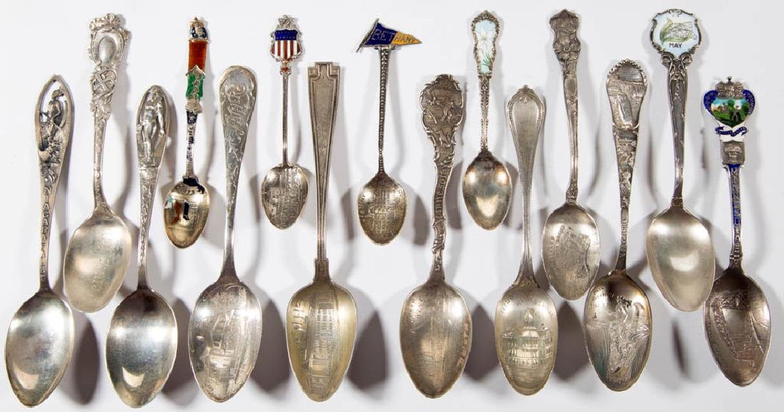 ASSORTED STERLING SILVER SOUVENIR SPOONS, LOT OF 30 - 3