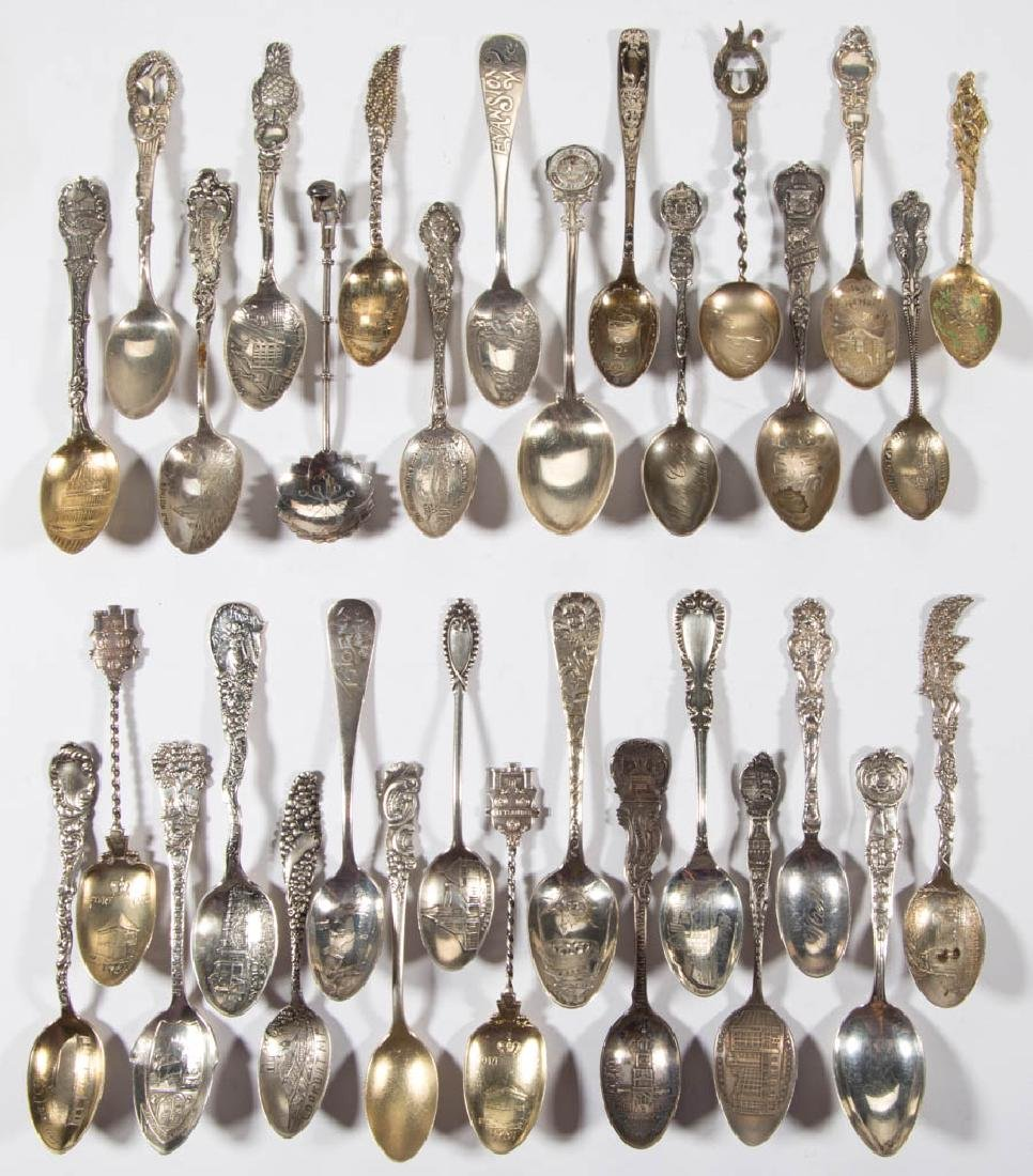 ASSORTED STERLING SILVER DEMITASSE AND OTHER SOUVENIR