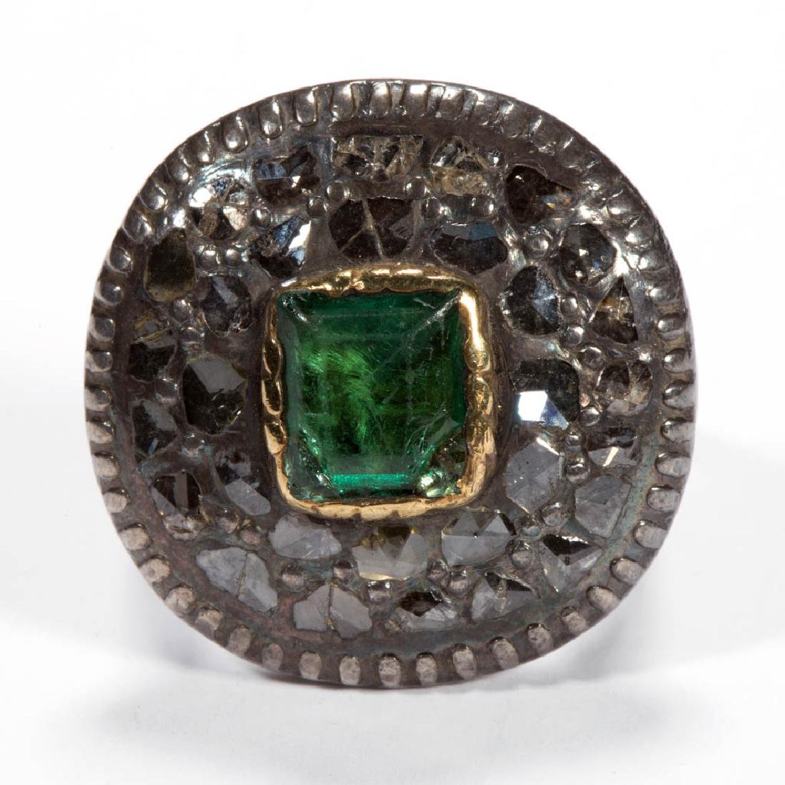 GEORGIAN GOLD, EMERALD, AND DIAMOND LADY'S RING WITH