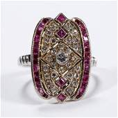 VINTAGE ART DECO 18K GOLD PLATINUM DIAMOND AND RUBY
