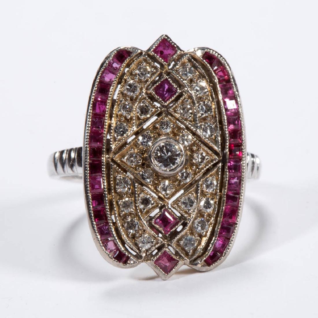 VINTAGE ART DECO 18K GOLD, PLATINUM, DIAMOND, AND RUBY