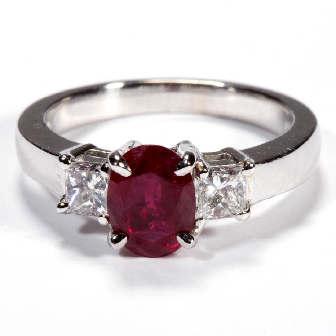 VINTAGE 14K WHITE GOLD, RUBY, AND DIAMOND LADY'S