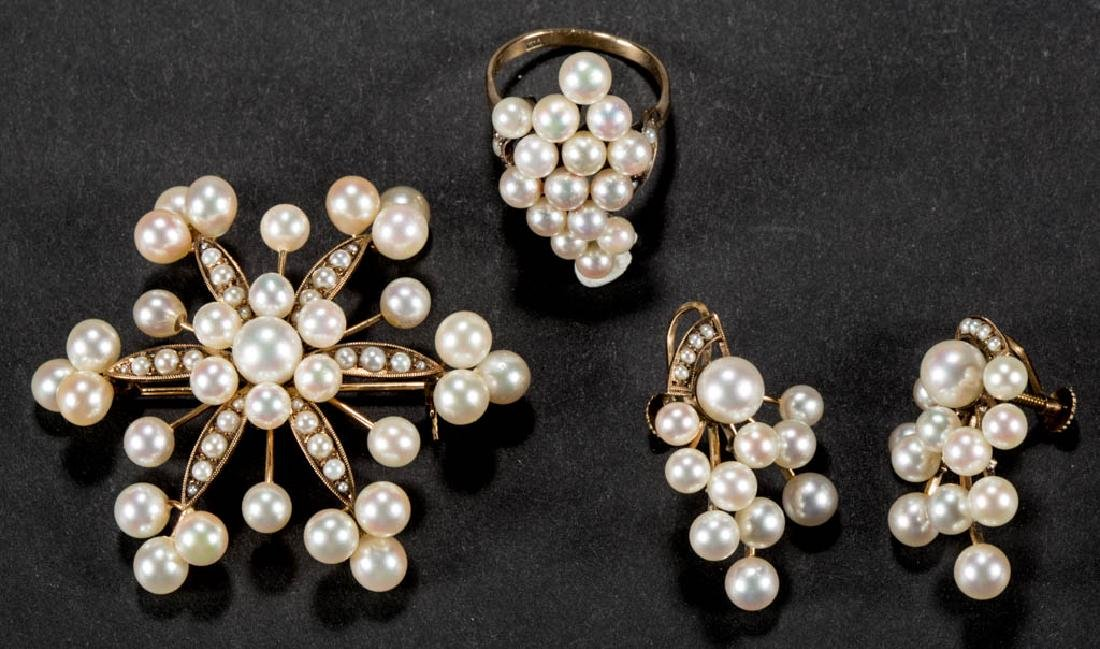 VINTAGE 14K GOLD AND PEARL FOUR-PIECE ENSEMBLE