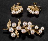 VINTAGE 14K GOLD AND PEARL THREEPIECE ENSEMBLE