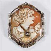 VINTAGE 14K WHITE GOLD CARVED CAMEO AND DIAMOND