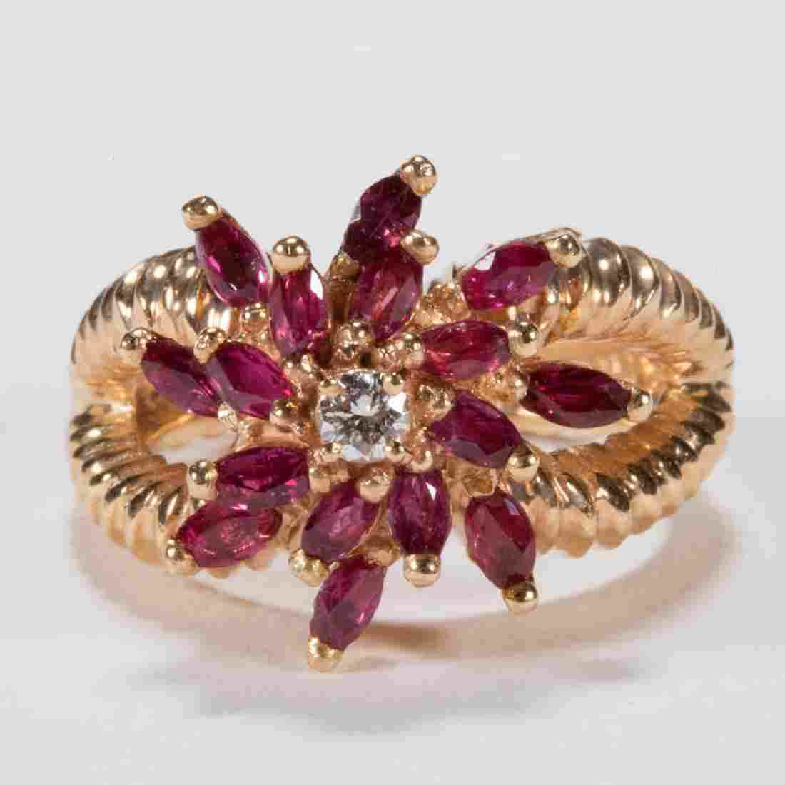 VINTAGE 14K GOLD DIAMOND AND RUBY LADY'S RING