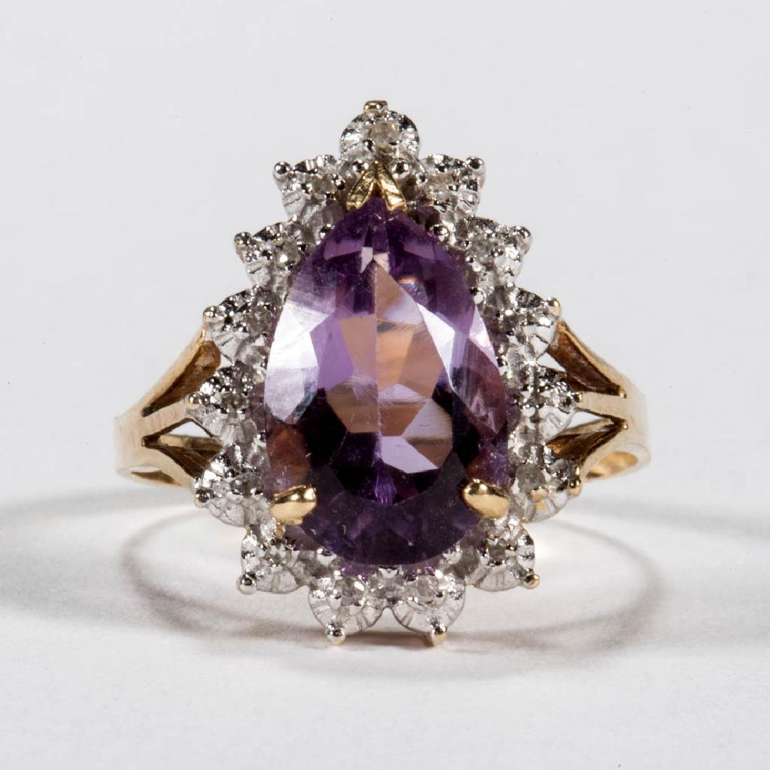 VINTAGE 14K GOLD, AMETHYST, AND DIAMOND LADY'S RING
