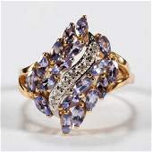 VINTAGE 14K GOLD DIAMOND AND TANZANITE LADYS RING