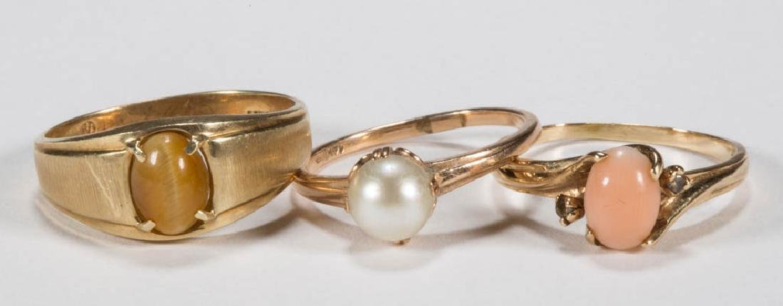 VINTAGE 14K GOLD LADY'S RINGS, LOT OF THREE